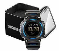 Наручний чоловічий спортивний електронний годинник Skmei 1248 з синіми вставками, фото 1