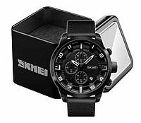 Наручные классические мужские часы Skmei 1309 черные