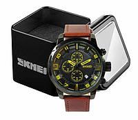 Наручные мужские классические часы Skmei 1309 черно-желтые