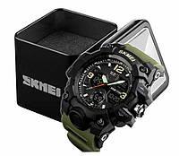 Наручные мужские тактические часы Skmei 1155B черный корпус ремешок олива, фото 1