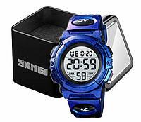 Наручные детские электронные часы Skmei 1266 c будильником и хронографом пурпурные