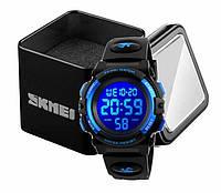 Наручные детские электронные часы Skmei 1266 c будильником и хронографом черно-синие