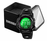 Наручные детские электронные часы Skmei 1266 c будильником и хронографом зеленый экран