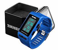Наручные женские спортивные часы Skmei 1363 с шагомером и хронографом синие