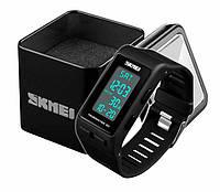 Наручные женские спортивные часы Skmei 1363 с шагомером и хронографом черные