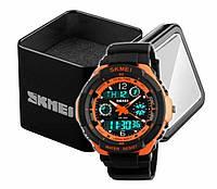 Наручний чоловічий спортивний цифровий годинник Skmei 0931 чорно-оранжевий