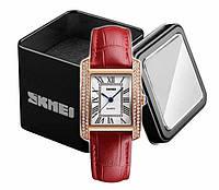 Наручные женские часы Skmei 1281 на красном кожаном ремешке в золотом корпусе, фото 1