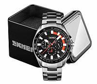 Наручные мужские классические часы Skmei 9167 в стальном серебристом корпусе с черно-оранжевым циферблатом
