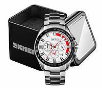 Наручные мужские классические часы Skmei 9167 в стальном серебристом корпусе с белым циферблатом