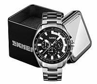 Наручные мужские классические часы Skmei 9167 в стальном серебристом корпусе с черным циферблатом