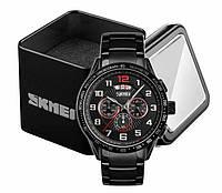 Наручные мужские классические часы Skmei 9176 черный стальной браслет