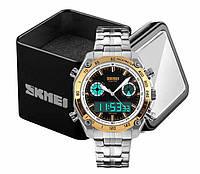 Наручний чоловічий кварцовий цифровий годинник Skmei 1204 в сталевому корпусі