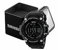 Наручные мужские цифровые спортивные смарт-часы Skmei 1227 с шагомером и блютузом черные, фото 1