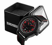 Наручные мужские классические часы Skmei 9138 черно-красные