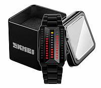 Женские стильные бинарные часы Skmei 1013 черного цвета, фото 1