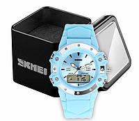 Часы женские наручные спортивные аналогово-цифровые Skmei 0821 голубые