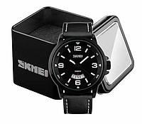 Наручные мужские классические часы Skmei 9115 с хронографом черные