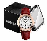 Наручные женские классические часы Skmei 1083 с красным ремешком