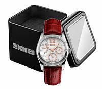 Наручные женские классические аналоговые часы Skmei 6911 c красным кожаным ремешком