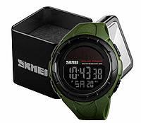Наручний чоловічий спортивний цифровий годинник Skmei 1405 на сонячній батареї олива