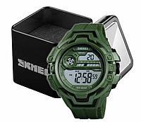 Наручний чоловічий цифровий армійський годинник Skmei 1383 олива