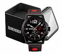 Наручные мужские классические часы Skmei 9111 с красно-черным кожаным ремешком