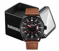 Наручные мужские классические часы Skmei 9113 с коричневым кожаным ремешком