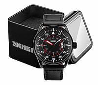 Наручные мужские классические часы Skmei 9113 с кожаным черным ремешком