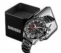 Классические наручные мужские часы Skmei 9192 стальной черный браслет