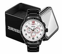 Наручные мужские классические часы Skmei 9176 черный стальной браслет белый циферблат