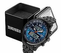 Наручний чоловічий цифровий світлодіодний годинник Skmei 1032 в сталевому чорному корпусі Синій циферблат