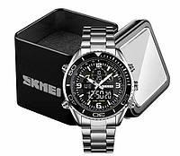 Годинники Skmei 1600 наручні чоловічі цифрові на сріблястому браслеті, фото 1
