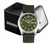 Годинники армійські наручні чоловічі Skmei 9112 кварцові зелений ремінець