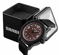 Наручные мужские классические часы Skmei 9138 коричневые