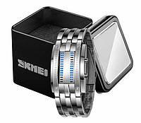 Женские стильные бинарные часы Skmei 0953 из нержавеющей стали серебристого цвета