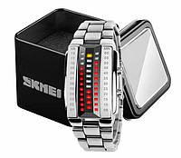Женские стильные бинарные часы Skmei 1013 серебристые
