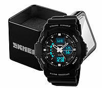 Годинники наручні чоловічі спортивні аналогово-цифрові Skmei 0955 чорні