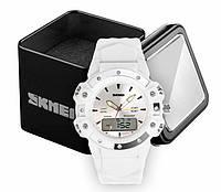 Часы женские наручные спортивные аналогово-цифровые Skmei 0821 белые