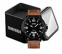 Наручные мужские классические часы Skmei 9115 с хронографом коричневые