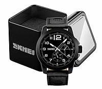 Наручний чоловічий аналоговий годинник Skmei 9111 з шкіряним ремінцем чорний, фото 1