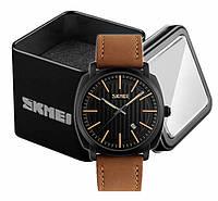 Наручные мужские классические часы Skmei 9169 с коричневым ремешком