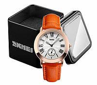 Наручные женские классические часы Skmei 1083 с оранжевым ремешком