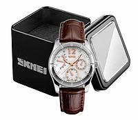Наручные женские классические аналоговые часы Skmei 6911 c кожаным коричневым ремешком