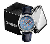 Наручные женские классические аналоговые часы Skmei 6911 c кожаным синим ремешком