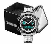 Наручний чоловічий кварцовий цифровий годинник Skmei 1204 в сталевому корпусі сріблястий