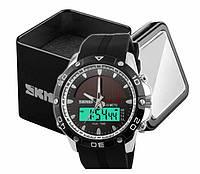 Наручний чоловічий спортивний цифровий годинник Skmei 1064 на сонячній батареї колір чорно-сріблястий, фото 1