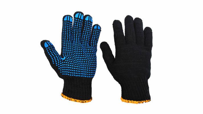 Перчатки рабочие черные  трикотажные с ПВХ  точкой, фото 2