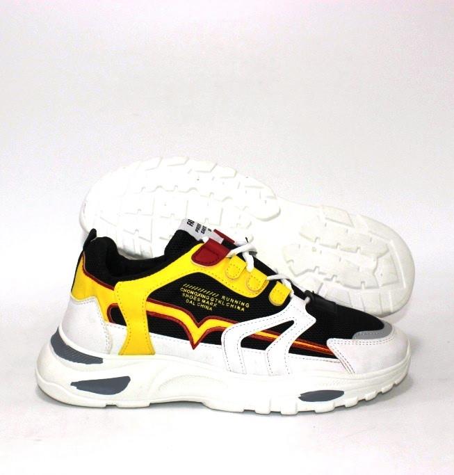 Белые женские кроссовки на толстой подошве с желтыми вставками