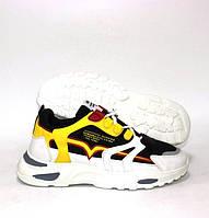 Белые женские кроссовки на толстой подошве с желтыми вставками, фото 1