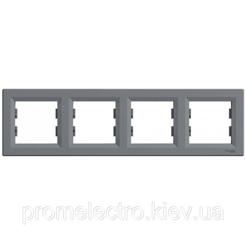 Рамка Schneider-Electric Asfora 4-постова горизонтальна сталь (EPH5800462)